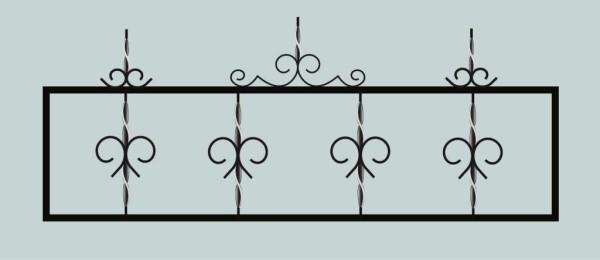 Ограда для могилы сварная металлическая, арт. ОГ012