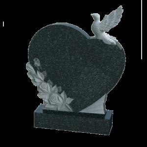 Памятник сердце с голубями и розами, арт. К1020