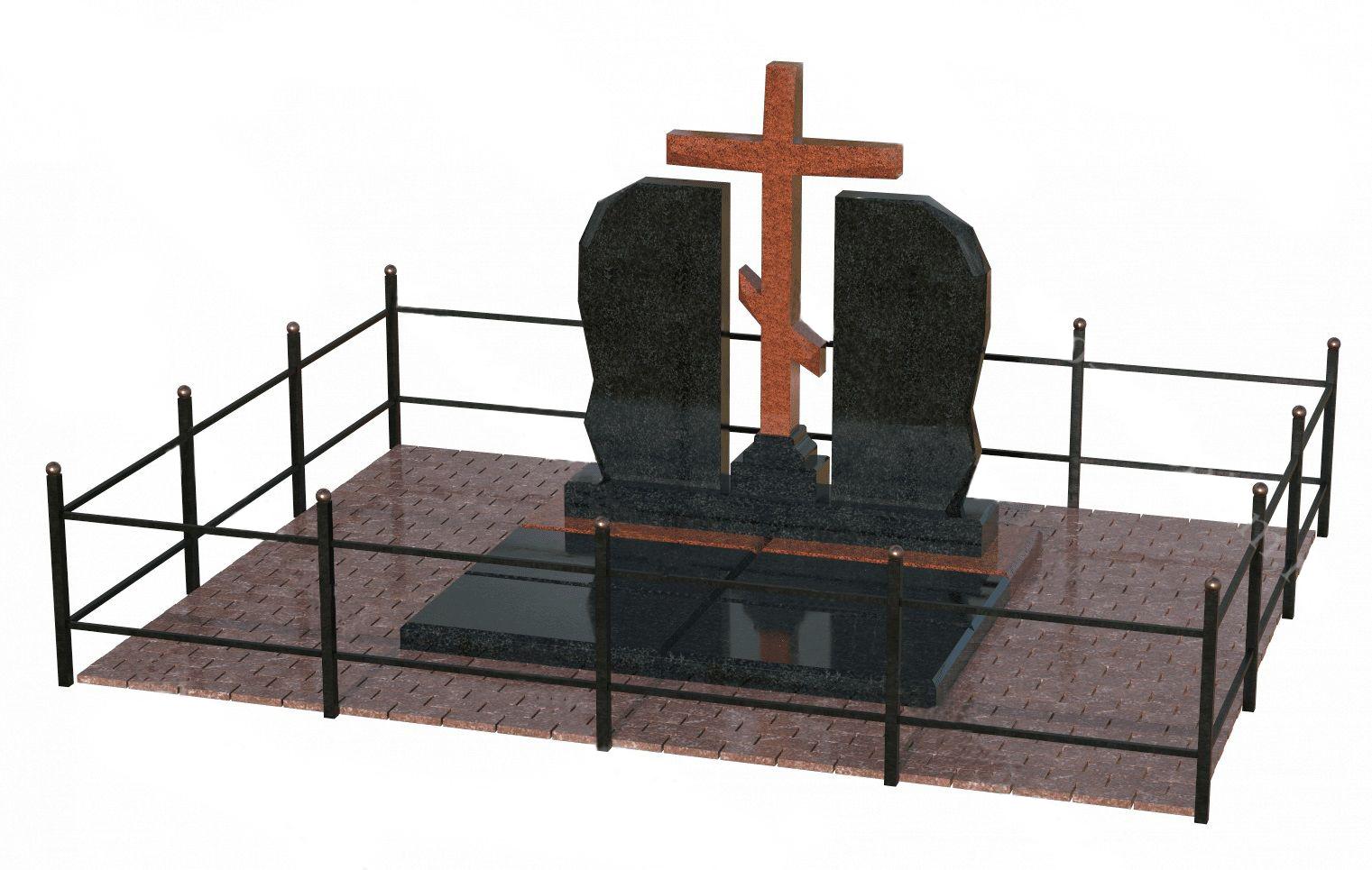 Гранитный мемориальный комплекс с металлической оградой